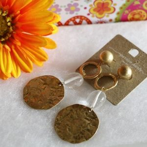 Artsy Boho Earrings Hammered Goldtone Dangle Long